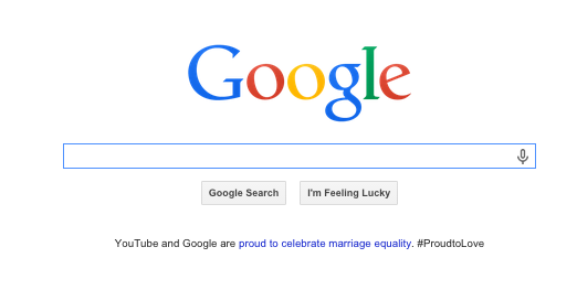 Google's homepage shortly after SCOTUS announced the marriage equality decision. [Image: screenshot]