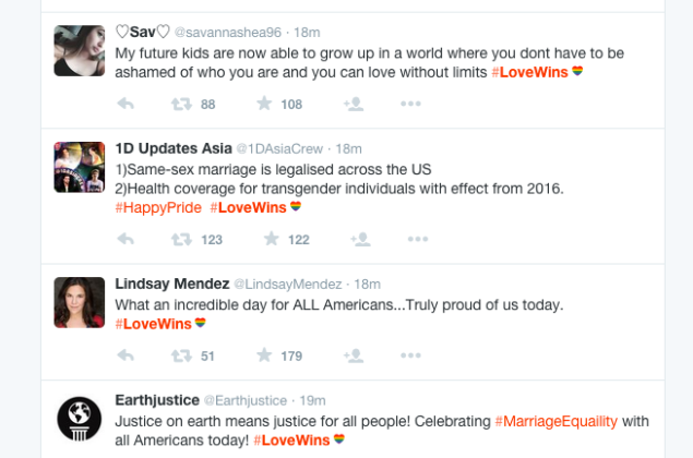 Everyone who tweets the #LoveWins icon is getting a rainbow heart character added following it on Twitter, following the Supreme Court Marriage Equality Decision. [Image: Screenshot]