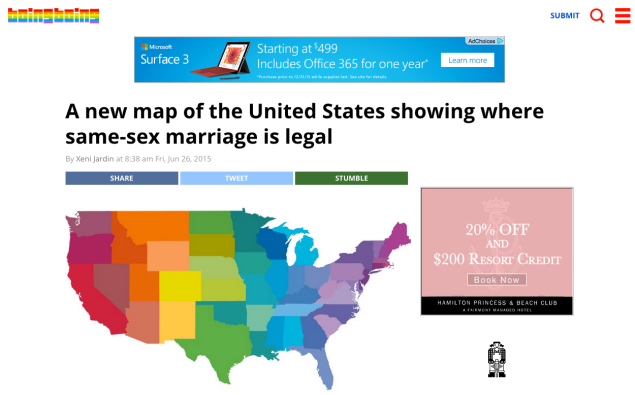 BoingBoing rainbowed its logo and did a map of the US on a post showing LGBT marriage legalized everywhere. (Image: Screenshot)
