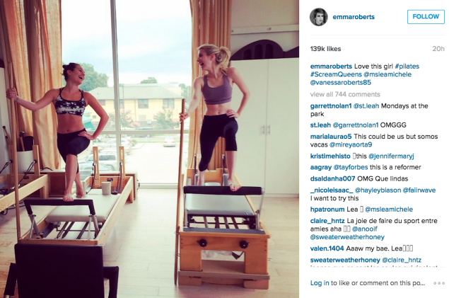 Ms. Michele and Ms. Roberts hit the Pilates studio. (Photo: Instagram/Emma Roberts)