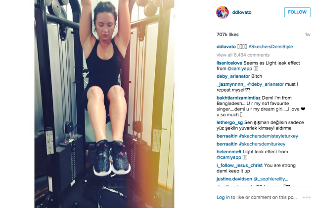 Ms. Lovato worked out her abs on a recent trip to the gym. (Photo: Instagram/Demi Lovato)