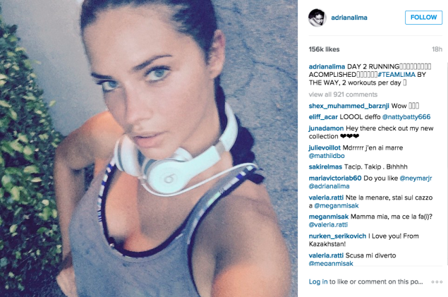 Ms. Lima went for a run. (Photo: Instagram/Adriana Lima)
