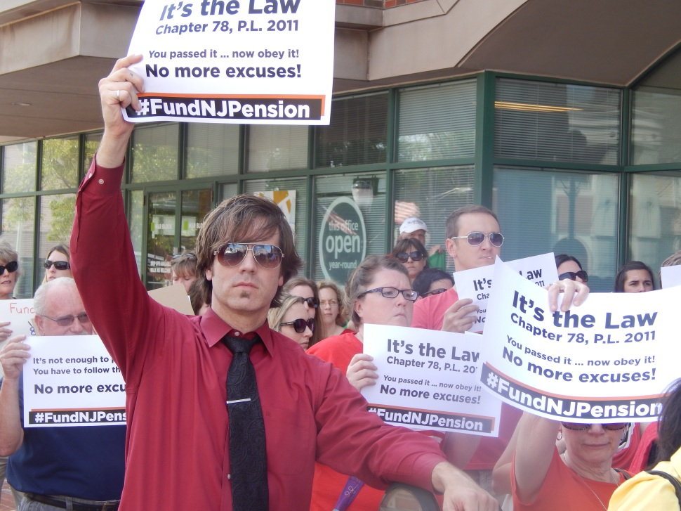 Teachers seeking relief from the state's high court and full pension payment protested in Somerville yesterday.