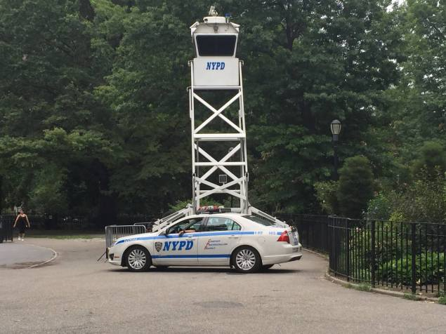 An NYPD tower was installed in Tompkins Square park on Tuesday. (Photo: Facebook.com/Tompkins Square Park)