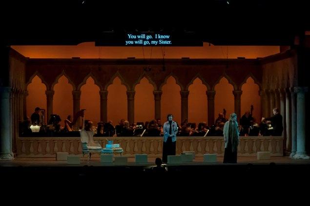 Jennifer Larmore, mezzo-soprano, and Jennifer Check, soprano,  in Dialogues des Carmélites by Francis Poulenc, in the Venetian Theater at Caramoor in Katonah New York on July 23, 2015. (Photo: Courtesy of Gabe Palacio)