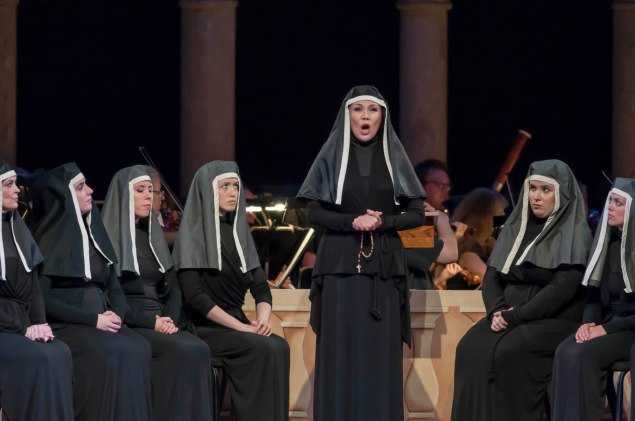 Hei-Kyung Hong, soprano, in Dialogues des Carmélites by Francis Poulenc, in the Venetian Theater at Caramoor in Katonah New York on July 23, 2015.  (Photo: Courtesy of Gabe Palacio)
