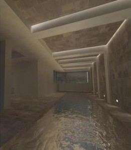 The gunite pool on the spa floor