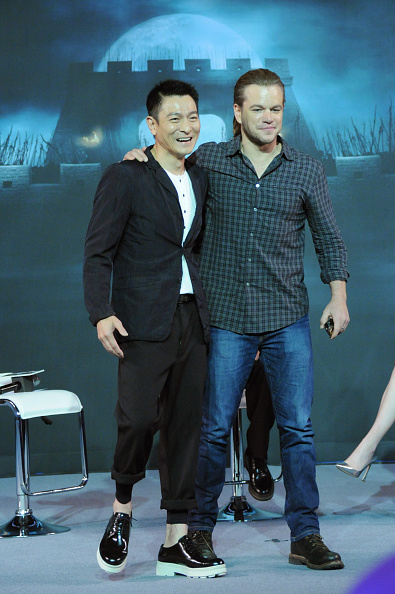 Matt Damon and Andy Lau attend The Great Wall press conference on July 2, 2015 in Beijing, China.  (Photo by ChinaFotoPress/ Getty Images)