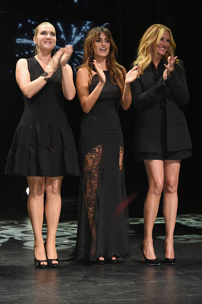 Kate Winslet, Penelope Cruz and Julia Roberts applaud the company on 80 years of excellence .  (Photo by David M. Benett/Getty Images for Lancome)