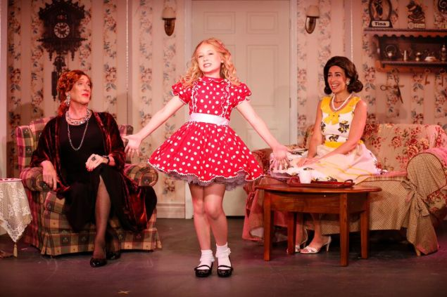 From left: Peter Land, Tori Murray and Kim Maresca in Ruthless!. (Photo: Carol Rosegg)
