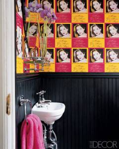 Sadly, it looks that the bathroom wallpaper featuring Candace Bushnell's face is no more. (Elle Decor)