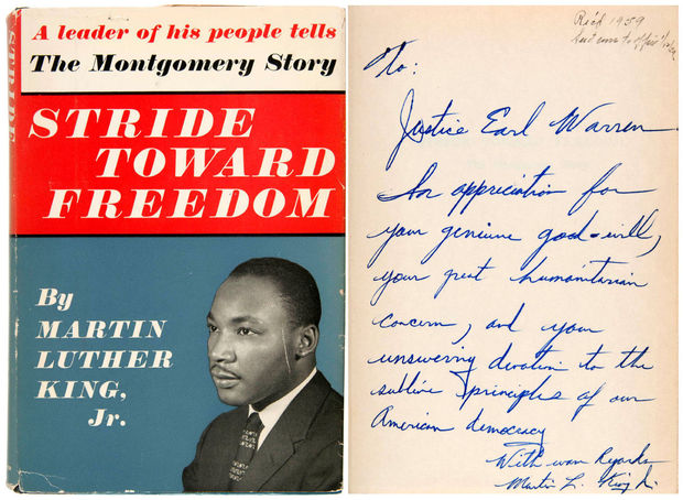 An inscribed first edition of Rev. Dr. Martin Luther King, Jr.'s book Stride Toward Freedom was sold for $49,335 at a pop culture and historical auction July 14-16 (Photo: courtesy of Hake's Americana).