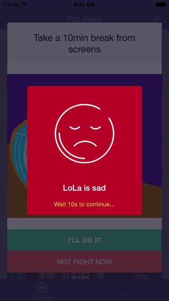 If a child denies one of LOLA's challenges, this depressing screen appears. (Photo: Screenshot)