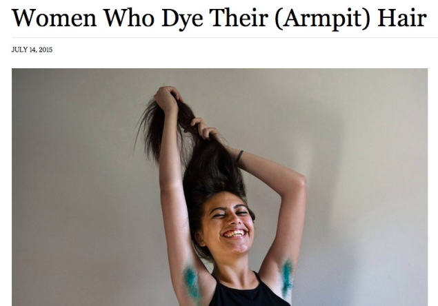 A screenshot of the Times' story on women who dye their armpit hair varying colors.