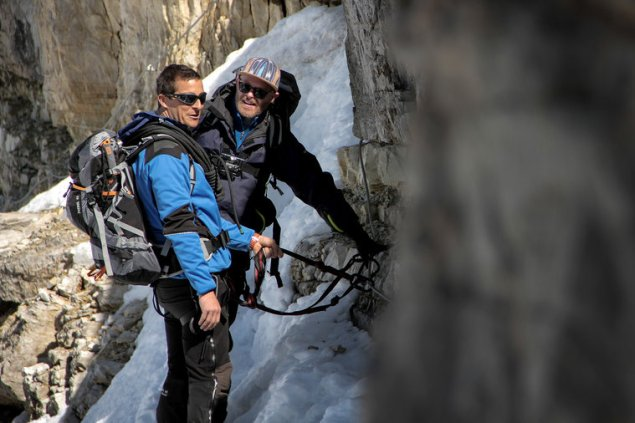 "RUNNING WILD WITH BEAR GRYLLS -- ""Jesse Tyler Ferguson"" Episode 202 -- Pictured: (l-r) Bear Grylls, Jesse Tyler Ferguson -- (Photo by: Mark Challender/NBC)"