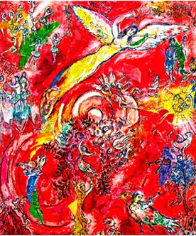 A poster of The Triumph of Music, one of two 29-foot-high paintings Marc Chagall has on display art the Metropolitan Opera.