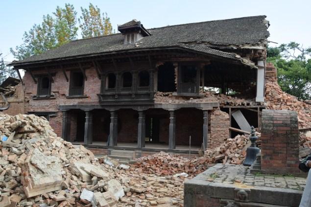 Changu Narayan temple as seen in 2015, after the April-May 2015 earthquakes. (Photo: © DirghaMan & GaneshMan Chitrakar Art Foundation, Courtesy The Rubin Museum of Art)