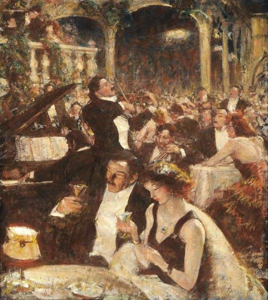 Harvey Dunn Nightclub Scene, circa 1915, on view at the South Dakota Art Museum.