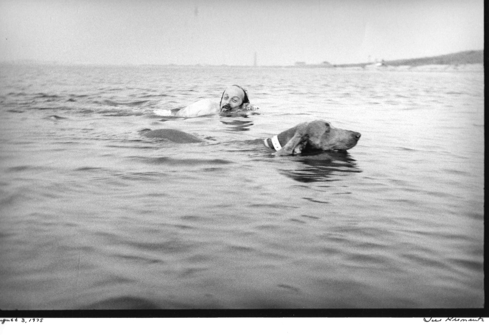 E.L. Doctorow (1931-2015) photographed by Jill Krementz swimming with Becky in Gardiner's Bay on August 3, 1975.