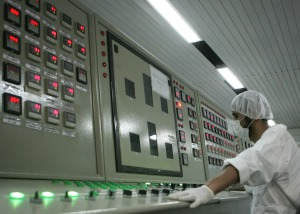 An Iranian technician works at the control room of the Isfahan Uranium Conversion Facilities (UCF), 420 kms south of Tehran, 03 February 2007. Iran opened the doors to its uranium conversion plant today in a bid to show its good intentions amid mounting international pressure for a halt its controversial nuclear programme. A delegation of Non-Aligned Movement (NAM) and Group of 77 representatives arrived at the facility in the central city of Isfahan together with foreign and Iranian journalists for a guided tour.  AFP PHOTO/BEHROUZ MEHRI (Photo credit should read BEHROUZ MEHRI/AFP/Getty Images)