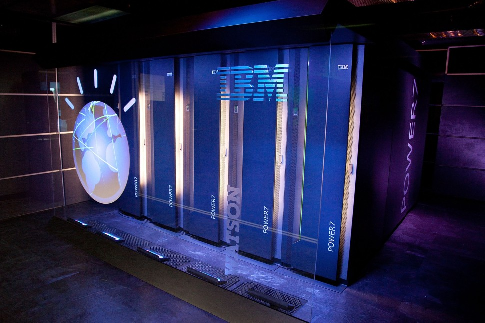 """YORKTOWN HEIGHTS, NY - JANUARY 13:  A general view of IBM's 'Watson' computing system at a press conference to discuss the upcoming Man V. Machine """"Jeopardy!"""" competition at the IBM T.J. Watson Research Center on January 13, 2011 in Yorktown Heights, New York.  (Photo by Ben Hider/Getty Images)"""