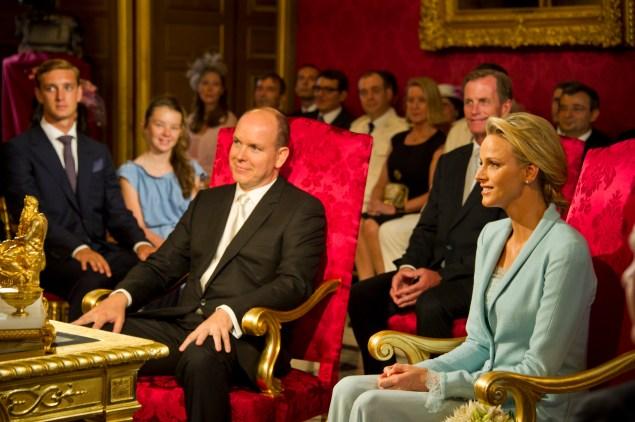 Prince Albert II and Charlene Wittstock's civil ceremony.  (Photo: Eric Mathon - Palais Princier via Getty Images)