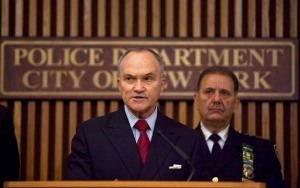 Former New York Police Commissioner Raymond Kelly (L) speaks as former Chief of Police Joseph Esposito looks on. (Photo by Ramin Talaie/Getty Images)