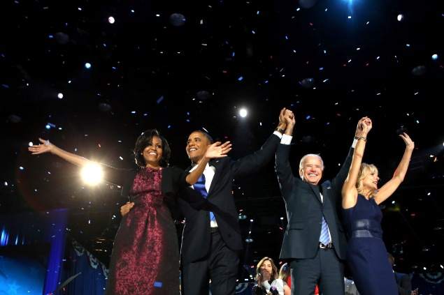 President Barack Obama stands on stage with First Lady Michelle Obama, Vice President Joe Biden and Dr. Jill Biden after his victory speech on election night at McCormick Place November 6, 2012 in Chicago, Illinois.. (Photo: Chip Somodevilla/Getty Images)