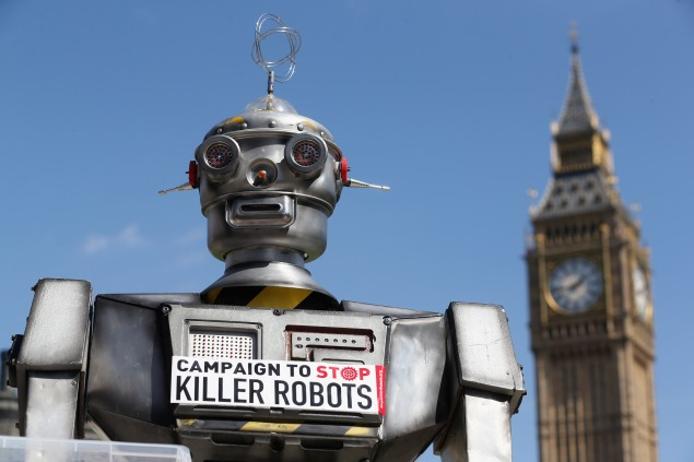 A photo from the 'Campaign to Stop Killer Robots' which called for a pre-emptive ban on lethal robot weapons in 2013. (Photo: Getty)