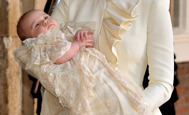 Prince George at his christening on October 23, 2013. (Photo: John Stillwell - WPA Pool /Getty Images)