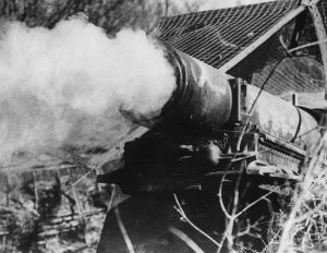A French gun firing at the advancing Germans during the unsuccessful defense of the Maginot Line  (Photo by Keystone/Getty Images)