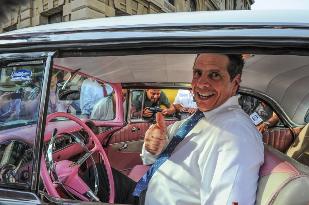 Gov. Andrew Cuomo sits inside a vintage car in Cuba in April        (Photo:  YAMIL LAGE/AFP/Getty Images).