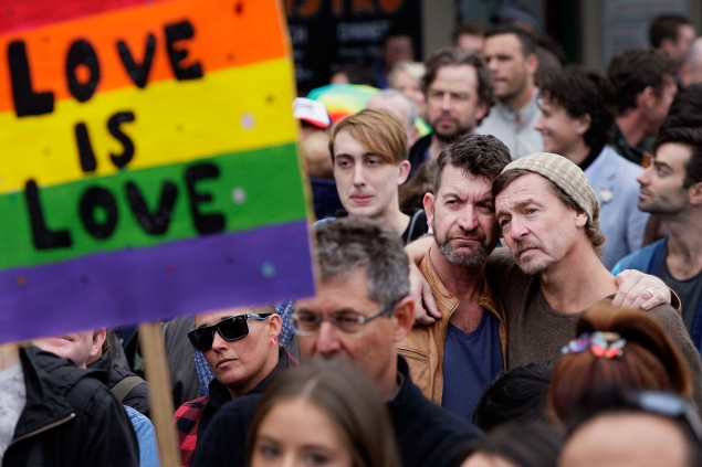 SYDNEY, AUSTRALIA - MAY 31:  Large crowds gather at Taylor Square in support of Marriage Equality on May 31, 2015 in Sydney, Australia. They are specifically calling on the government to allow for a free vote on Marriage Equality. (Photo by Lisa Maree Williams/Getty Images)