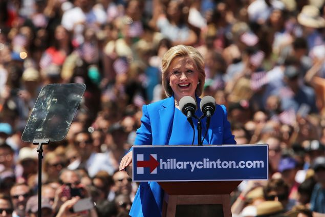 Secretary Hillary Clinton kicking off her campaign on Roosevelt Island last June. (Photo by Spencer Platt/Getty Images)