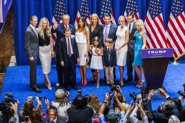 NEW YORK, NY - JUNE 16: Presidential candidate Donald Trump (3rd from left) is the father of Ivanka Trump (3rd from right), who is married to Jared Kushner (2nd from right), the publisher of the Observer. (Photo by Christopher Gregory/Getty Images)