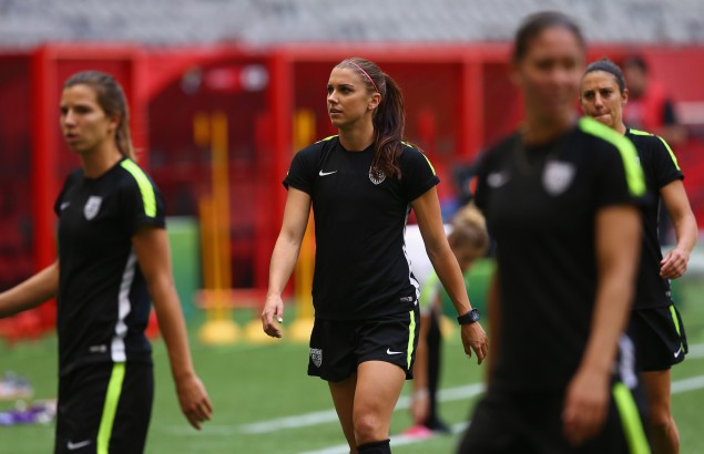 Team USA during a training session prior to the FIFA Women's World Cup Canada 2015 Final between United States and Japan at BC Place Stadium on July 4, 2015 in Vancouver, Canada. (Getty)