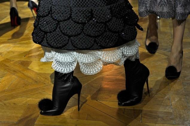 Furry heels at Ulyana Sergeenko (Photo: Kristy Sparow/Getty Images)
