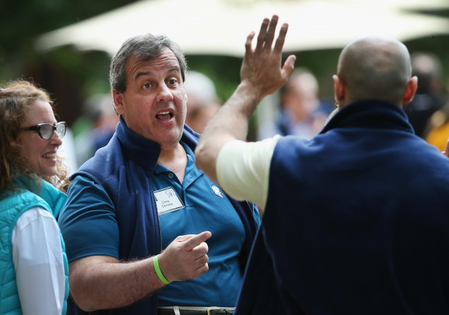 New Jersey Governor Chris Christie chats with Yousef Al Otaiba, United Arab Emirates Ambassador to the United States, at the Allen & Company Sun Valley Conference on July 11, 2015 in Sun Valley, Idaho, 2445 miles from New Jersey. (Scott Olson/Getty Images)