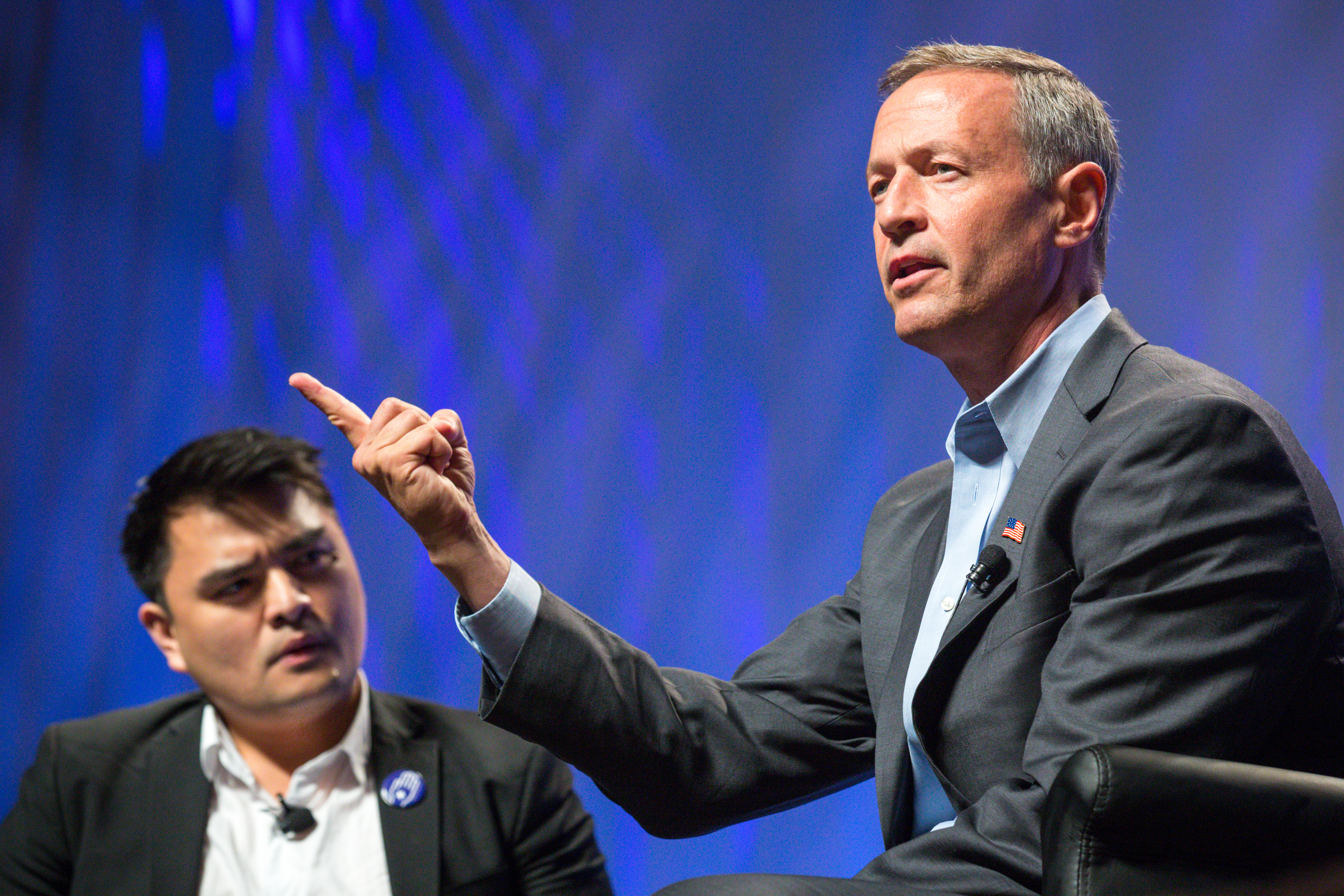 Former Gov. Martin O'Malley at Netroots Nation, before being interrupted by demonstrators yelling 'Black Lives Matter.' (Photo by Charlie Leight/Getty Images)