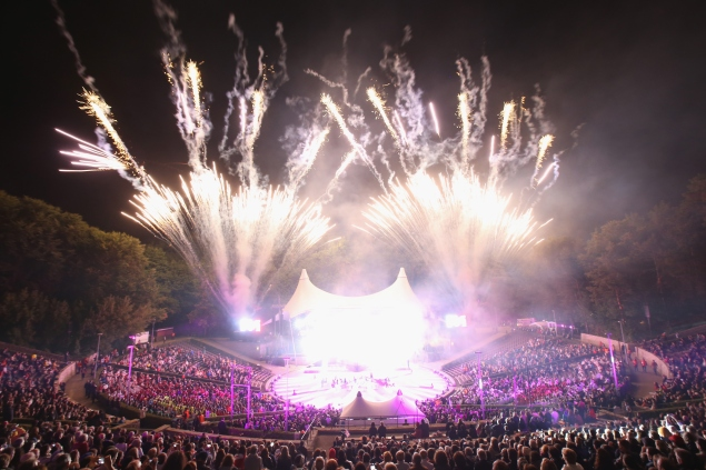 BERLIN, GERMANY - JULY 28:  Fireworks ignite at the official opening ceremony of the European Maccabi Games at the Waldbuehne on July 28, 2015 in Berlin, Germany. Over 2,000 Jewish athletes from Maccabi clubs all over the world will compete for the next week in Berlin at the Olympiastadion where in 1936 Nazi Germany held the Olympics and excluded its own Jewish athletes. The Maccabi games take place every four years and first took place in Prague in 1929.  (Photo by Sean Gallup/Getty Images)