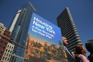 NEW YORK, NY - MAY 05:  A sign for New York City Mayor Bill de Blasio's new housing plan stands at an affordable housing construction site on May 5, 2014 in the Brooklyn borough of New York City. The mayor's $41 billion 'Housing New York - A Five-Borough Ten-Year Plan', billed by his office as the most ambitious affordable housing plan in U.S. history, plans to build or preserve 200,000 apartments in the next decade. The project would serve more than half a million low and middle income New Yorkers across the city's five boroughs. New York City has some of the highest rents and property values in the nation.  (Photo by John Moore/Getty Images)