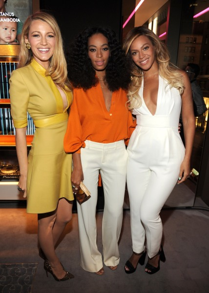 Blake Lively, Solange and Beyonce at Chime for Change's one-year anniversary event.  (Photo: Kevin Mazur /Chime For Change/Getty Images for Gucci/Getty Images for Gucci)