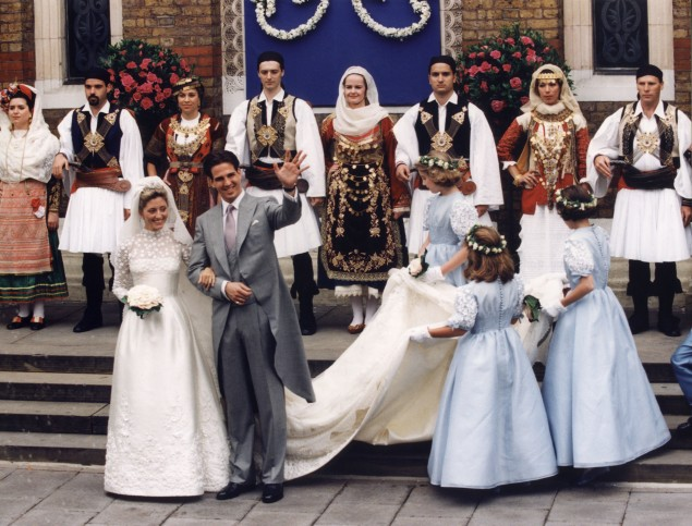 Marie-Chantal Miller wore Valentino for her 1995 wedding to Crown Prince Pavlos. (Photo: ANDREW WINNING/AFP/Getty Images)