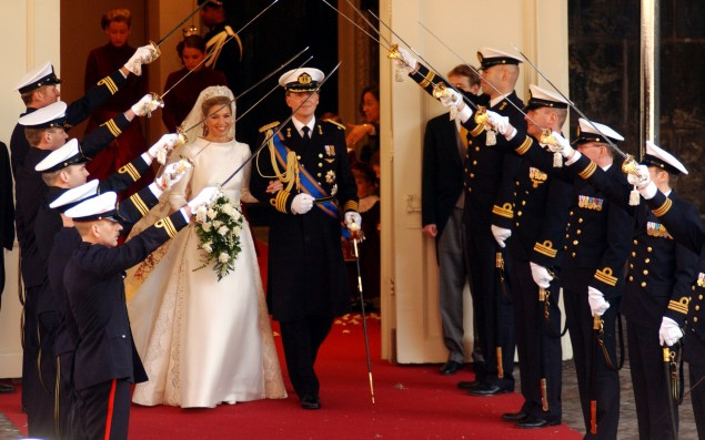 The Netherlands' Queen Maxima wore a Valentino gown for her 2002 wedding in Amsterdam. (Photo: Anthony Harvey/Getty Images)