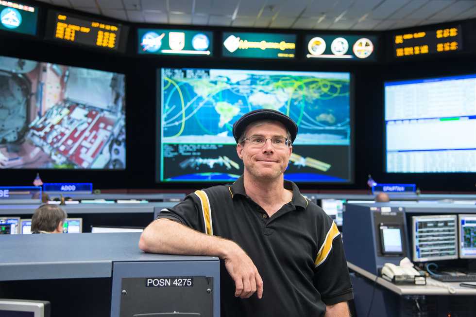 Andy Weir in the Mission Control Center at NASA's Johnson Space Center (Credit NASA/James Blair and Lauren Harnett)