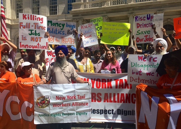 Taxi drivers protested the lack of a cap bill on the steps of City Hall. The bill could've been voted on today. (Giulia Olsson/The New York Observer)