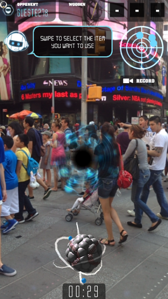 """'Portalball' takes over your phone screen using augmented reality so you can play """"atom ball"""" in Times Square. (Photo: Screenshot)"""