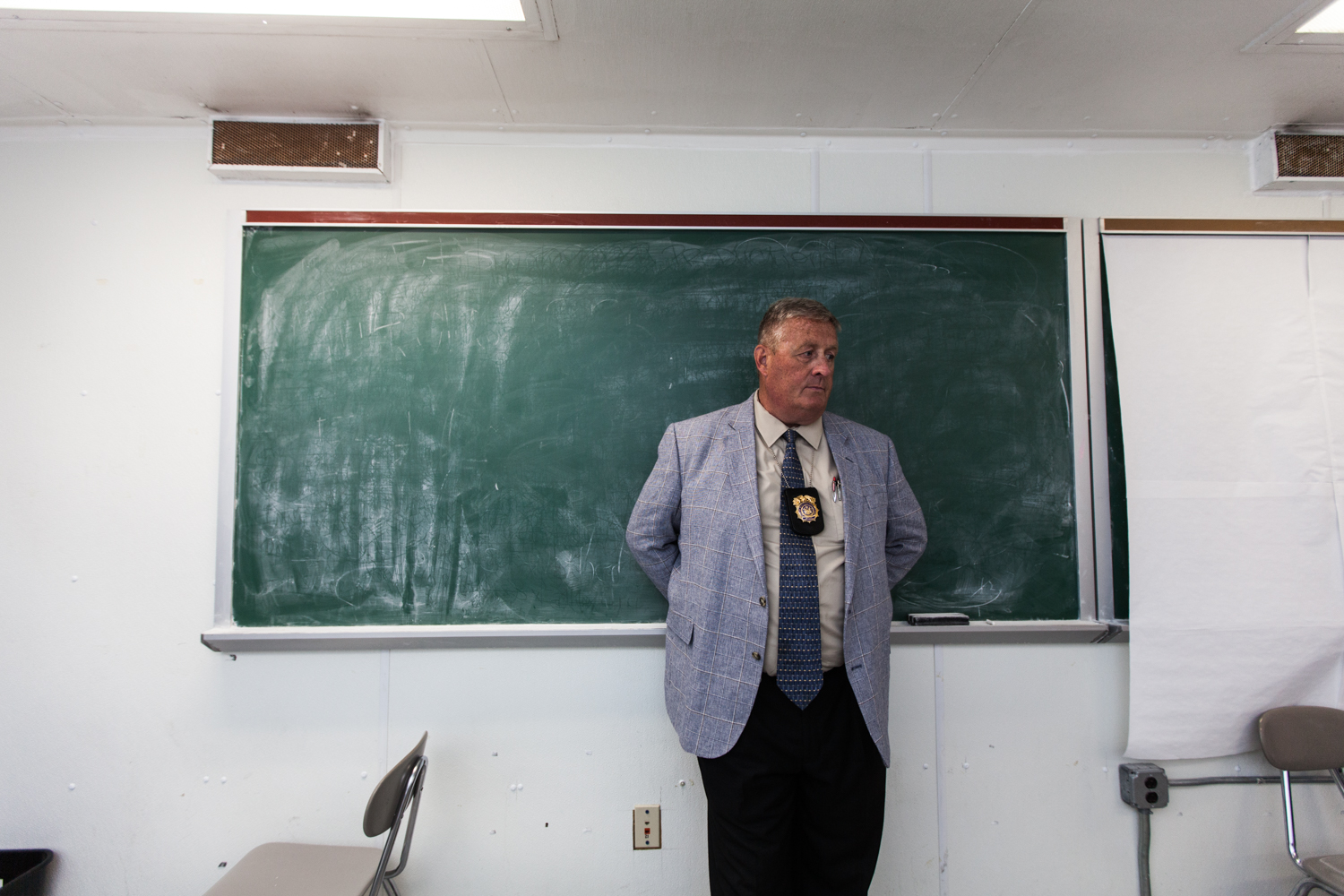 Department of Correction Deputy Commissioner James Walsh in a classroom at the George Motchan Detention Center on Rikers Island.  PHOTO: Emily Assiran for Observer