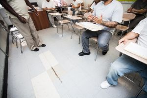 Inmate participate in a class for the new Next Steps program at the George Motchan Detention Center on Rikers Island. PHOTO: Emily Assiran for Observer