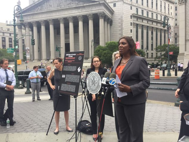 Public Advocate Letitia James announcing a foster care lawsuit against the city and the state in July.